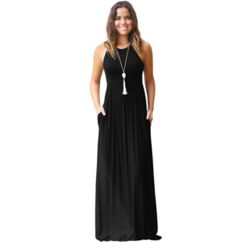 Women Floor-length Dress 2018 New Solid O Neck Sleeveless Racer Back Sundress High Waist Pleated Pockets Maxi Casual One-Piece
