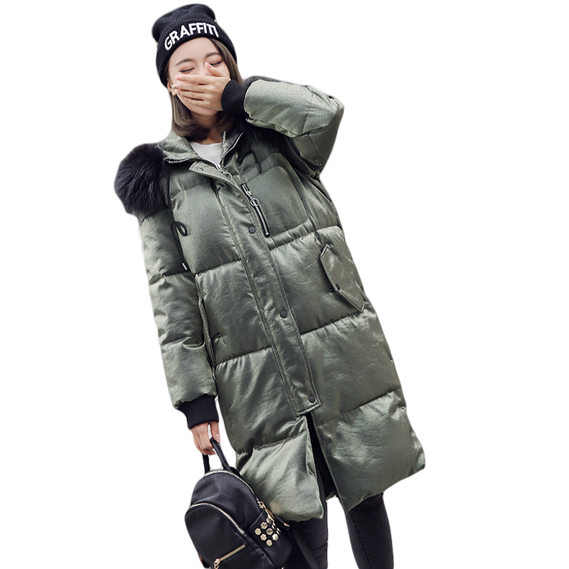 New Winter Jacket Women 2017 Long Cotton-padded Fur Hooded Jacket Parkas Female Wadded Jacket Outerwear Winter Coat Women CM1912 купить