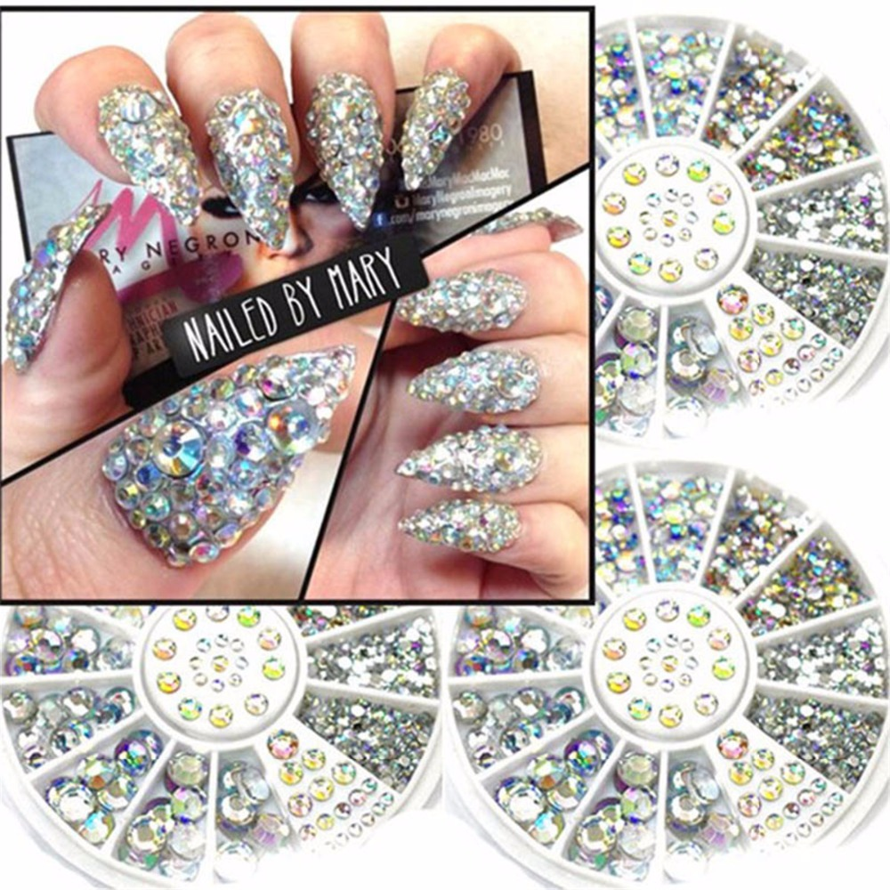 Christmas Diy Nail Ideas And More Of Our Manicures From: 1 Case Crystal Rhinestones Nails Tips Clear/AB No Hot Fix