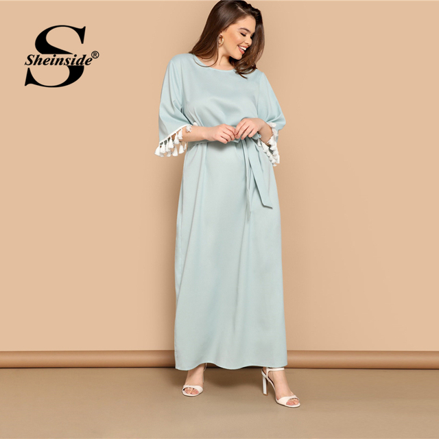 Sheinside Plus Size Elegant Fringe Detail Maxi Dress Women 2019 Summer Solid Belted Straight Dresses Ladies Half Sleeve Dress 4