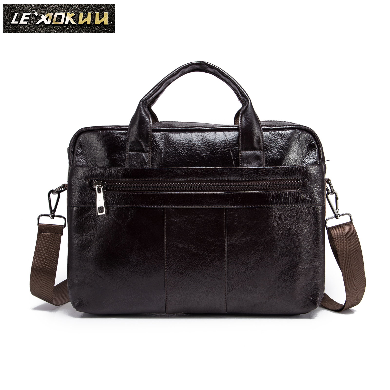 Original Leather Fashion Design Men Coffee Briefcase Business 15
