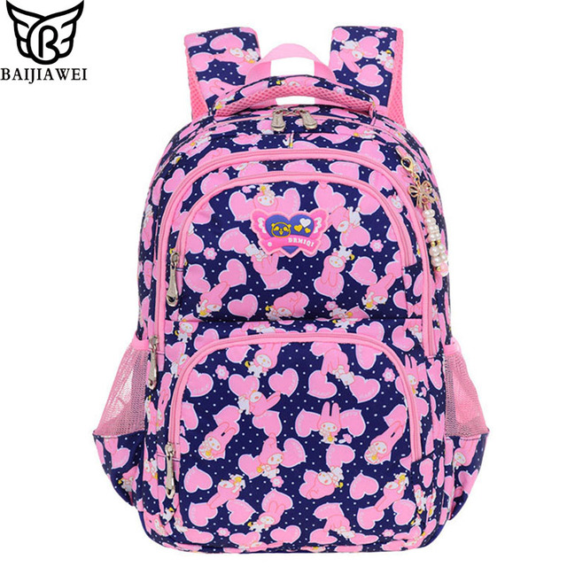 4a610ef0f6a9 BAIJIAWEI Children School Bags 6-12 Year-old Shoulder Bag Primary School  1-6 Grade Girls Backpack Small   Large Size Bookbag