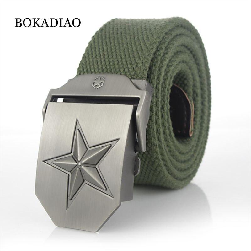BOKADIAO Men&Women Military Canvas   belt   luxury 3D star Metal buckle jeans   belt   Army tactical   belts   for Men waistband strap male