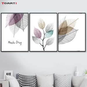 Image 3 - צבעי מים מופשט עלה בד ציורי קיר נורדי כרזות הדפסי מינימליסטי קיר אמנות תמונות לסלון חדר שינה