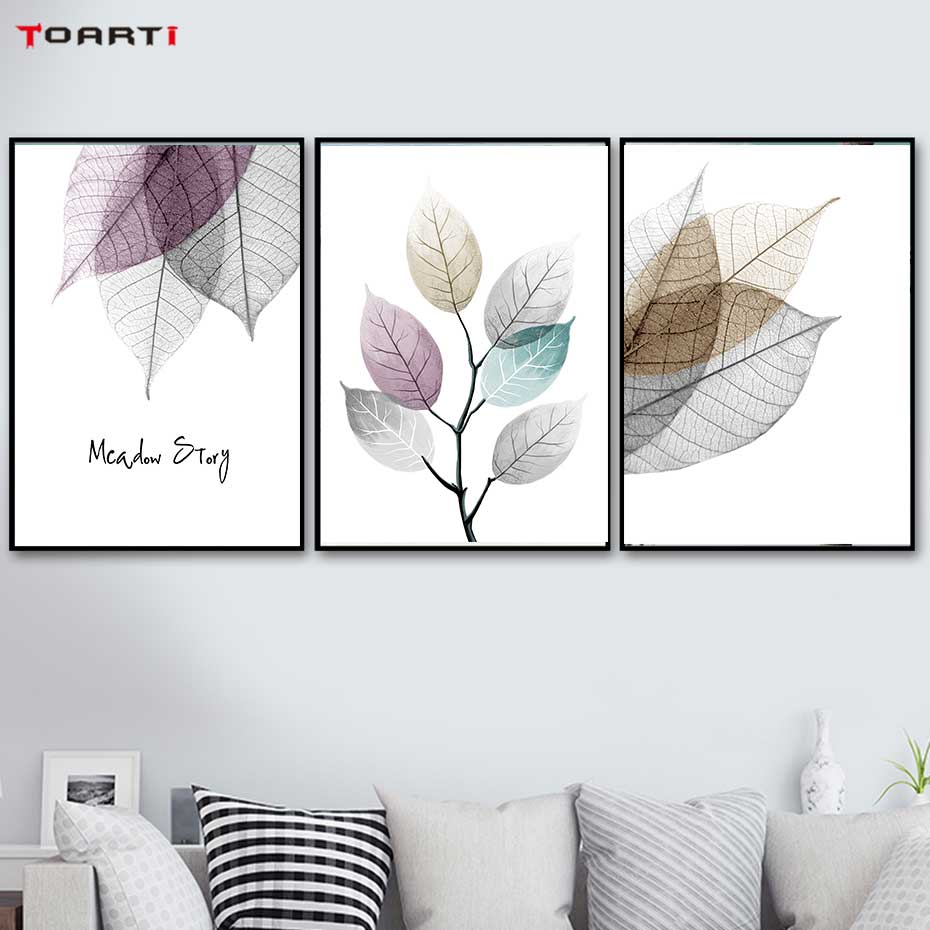 Image 3 - Watercolor Abstract Leaf Canvas Paintings On The Wall Nordic Posters Prints Minimalist Wall Art Pictures for Living Room Bedroom-in Painting & Calligraphy from Home & Garden