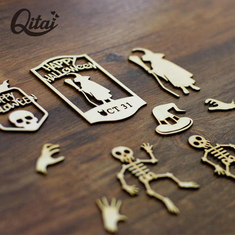 """QITAI 30 piezas """"Halloween"""" forma de chapa de madera DIY Scrapbooking madera artesanía productos la decoración del hogar para regalos de niños wf157"""