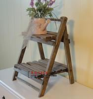 All solid wood bunk ZAKKA retro rural multilayer flower vase wood color rack shelf Home Decoration