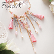 SPECIAL western fashion tassel necklace cherry blossom powder ins girls heart neck chain clavicle chasing dream girl