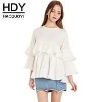 HDY Haoduoyi 2017 New Fashion Women Cute Ruffle Tees Vintage Elegant Casual Loose Tops White Shirts Tee Crew Neck T-shirts