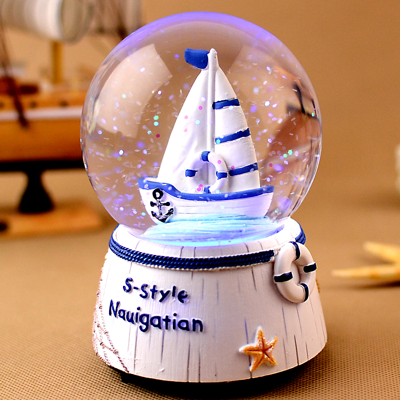 Crystal ball music Box Music box With snowflakes Can emit light Creative birthday gift Send girls princess girls children