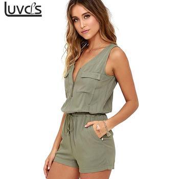 304ef0d189 Sexy Sleeveless bodysuit V-neck zipper pockets playsuit shorts romper  summer Fashion beach overalls femme frock women jumpsuit
