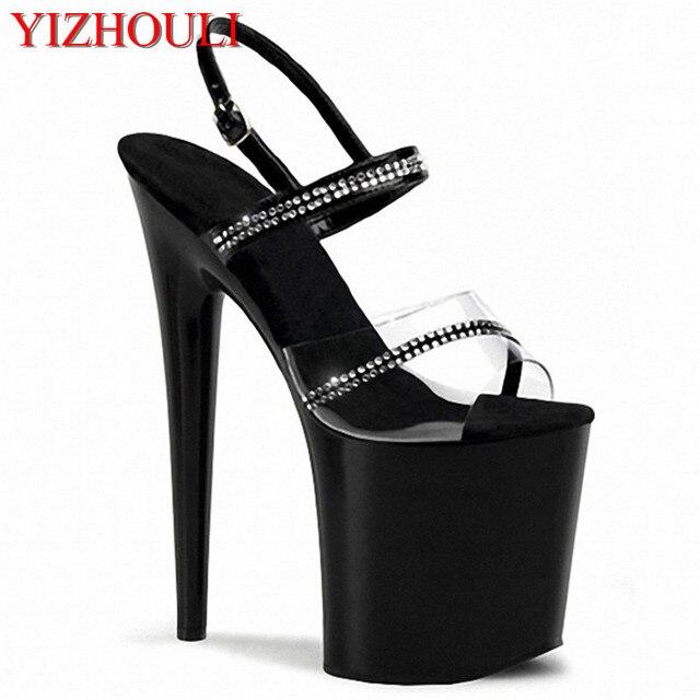 le cristal de 20 cm super talon bas chaussures,black