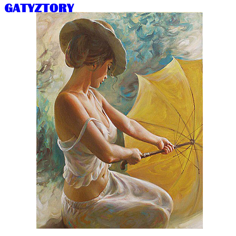 Frameless Umbrella Women Figure Painting Acrylic Picture DIY Digital Painting By Numbers Unique Gift For Home Decoration 40x50cm