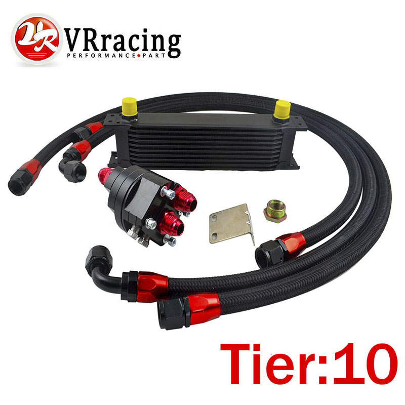 VR RACING - UNIVERSAL 10 ROWS ENGINE OIL COOLER+ALUMINUM OIL FILTER/COOLER RELOCATION KIT+3X NYLON BRAIDED HOSE LINE+ADAPTER vr universal 13 rows trust type oil cooler an10 oil sandwich plate adapter with thermostat 2pcs nylon braided hose line