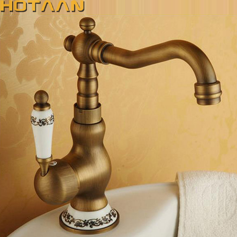 Antique Brass Kitchen Faucets Brass Porcelain Base Bathroom Sink Basin Faucet Mixer Hot and Cold Water