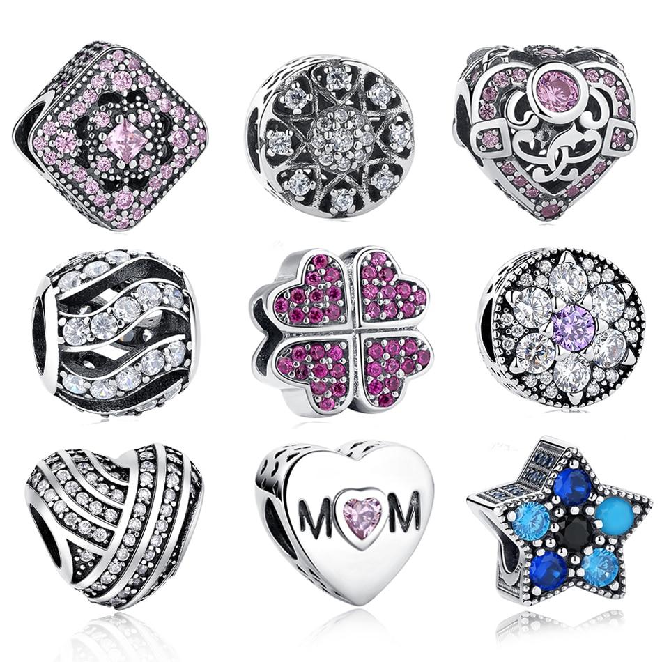 100% 925 Sterling Silver Beautiful Beads Fit Original Pandora Charm Bracelet High Quality Jewelry Gift