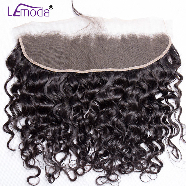 LeModa Malaysian Water Wave Lace Frontal Closure Knots Bleached Pre Plucked With Baby Hair Remy Human Hair Closure