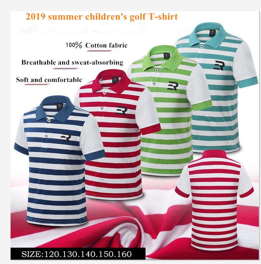 2019 nouveaux vêtements de golf pour enfants d'été à manches courtes jeunesse Golf T-shirt garçons 100% coton respirant à séchage rapide rayé chemises