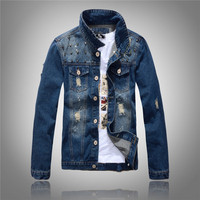 New 2017 Hip Hop Rivets Denim Jacket Men Ripped Holes Jeans Coats Male Slim Fit Motorcycle