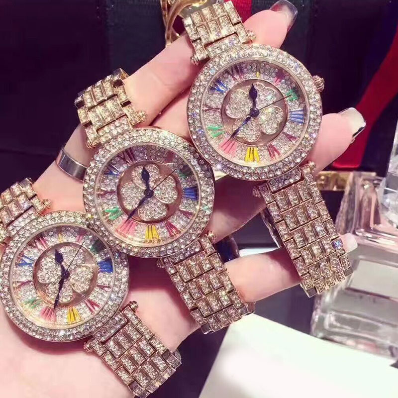 Luxury Brand Women Rhinestone Watches Lady Shining Rotation Dress Watch Big Diamond Stone Wristwatch Lady Rose Gold Watches bs brand women luxury fashion rhinestone watches lady shining dress watch square bracelet wristwatch ladies diamond quartz watch