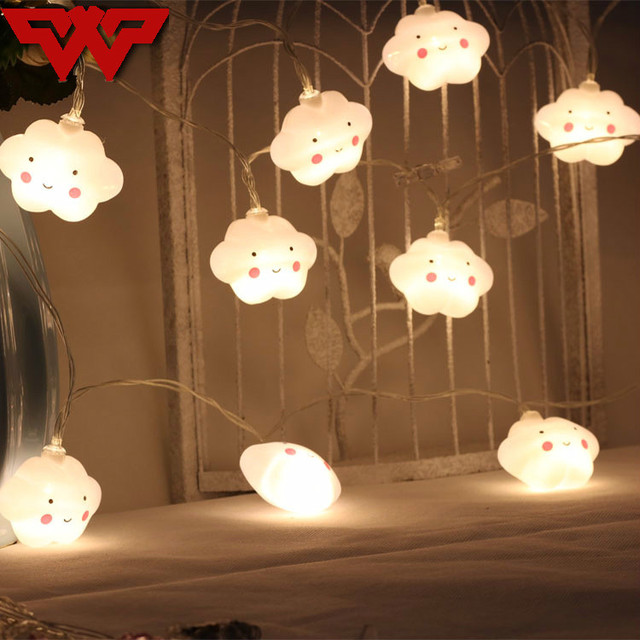 WOOTOP Smiling cloud LED string lighting Indoor Decoration lamp HolIday room decoration Battery Powered 20 LEDs String light