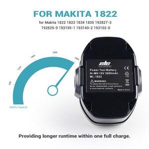 Image 2 - ELEOPTION 2 Pacote/lote 18 18V 3000mAh Ni MH Bateria de Substituição para Makita 1822 V 1823 1834 1835 192827 192829 9 3 193159 1