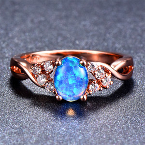 Bamos Luxury Rose Gold Wedding Rings Blue/Purple/White Oval Opal Rings Vintage Rainbow Rings For Women Party Engagement Gifts(China)