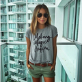 Women Summer Casual T-shirt Graphic Letters Printed Round Neck Short Sleeve Top