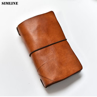 SIMLINE Genuine Leather Men Wallet Clutch Bag Vintage Handmade Long Purse Organizer Travel Wallets Passport Card Holder For Male