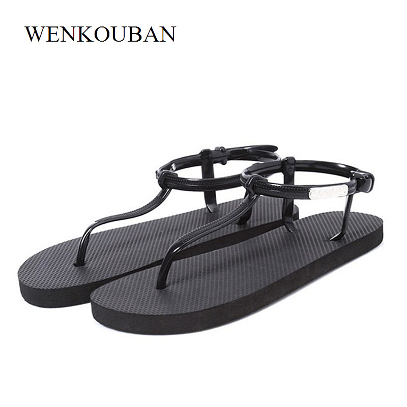 Beach Shoes Woman Sandals Summer Gladiator Sandals Ladies T Stripe Flip Flops Casual Shoes Flat Slip On Sandalias zapatos mujer hee grand summer gladiator sandals 2017 new platform flip flops flowers flats casual slip on shoes flat woman size 35 41 xwz3651
