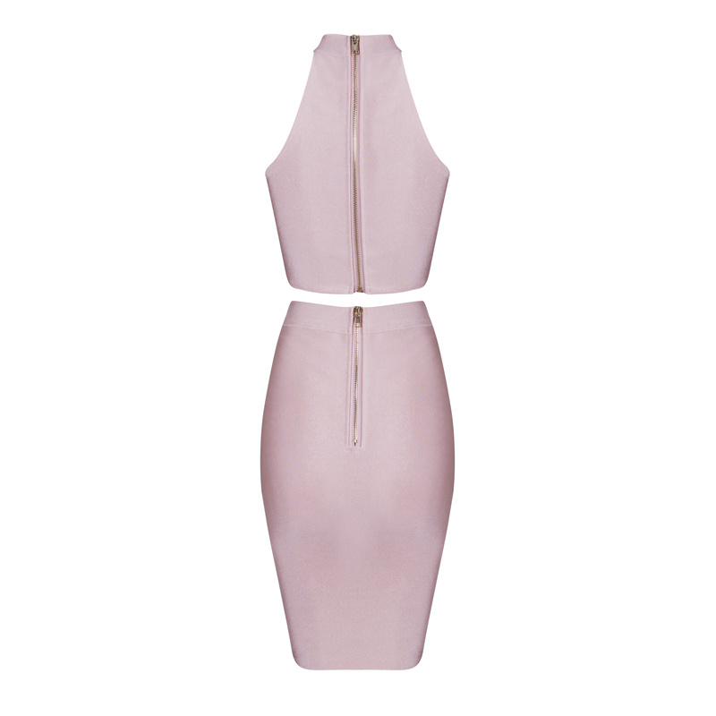 HTB1zjQfBZyYBuNkSnfoq6AWgVXav - 2018 Sexy Women Clothing Club Party 2 Piece Sets Fashion Bandage Dress Strapless Short Crop Top Patchwork Knee-Length Skirts