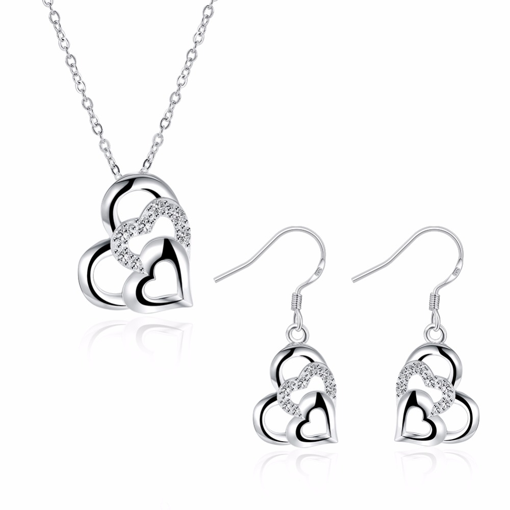 Cute 925 Sterling Silver Three Heart Clear Cz Pendant Necklace And Earrings  Small Jewelry Sets For