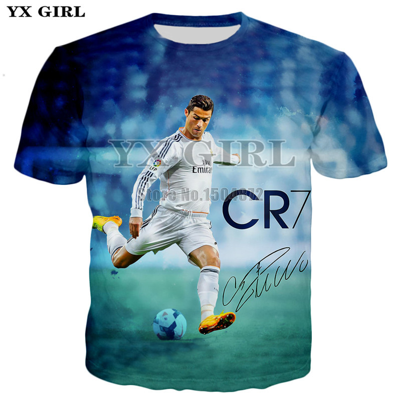 2018 Summer Mens Casual   T     shirt   Short Sleeve Tees Men/Women   T  -  shirt   Character Cristiano Ronaldo 3d Printed Tshirt Unisex Tops