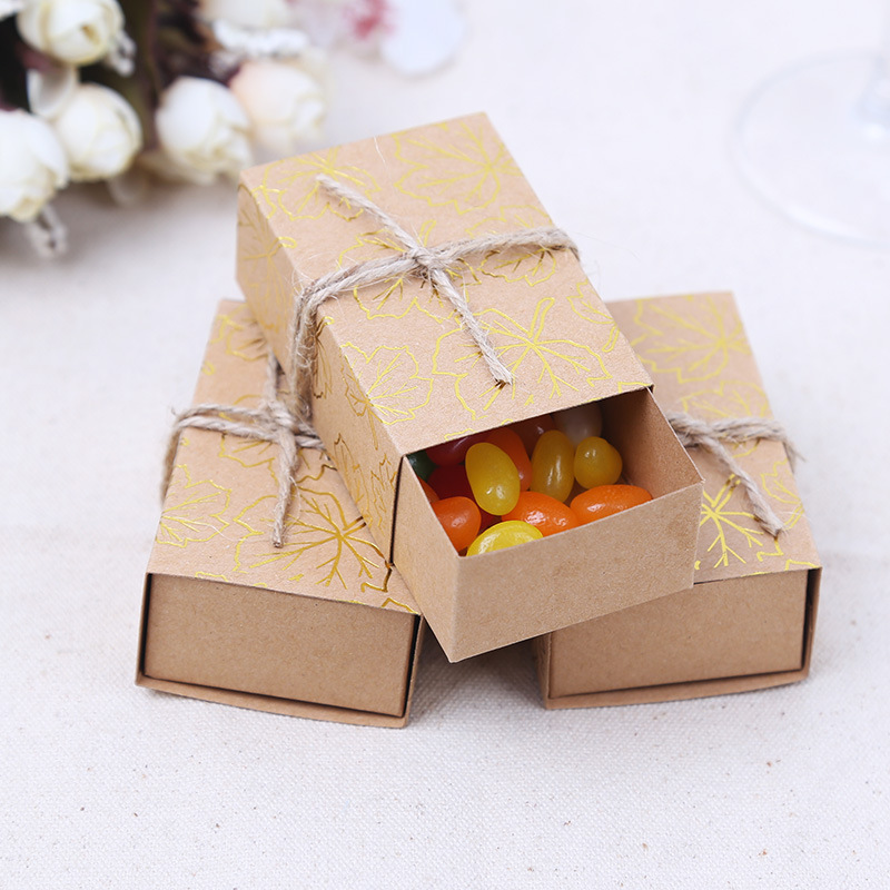 50pcs new retro kraft paper gold leaves print drawer pull candy box creative candy snack box of. Black Bedroom Furniture Sets. Home Design Ideas