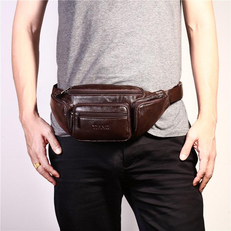 YIANG Brand Designer Men Waist Bag Real Leather Belt Bag Solid Färg - Bälten väskor - Foto 4