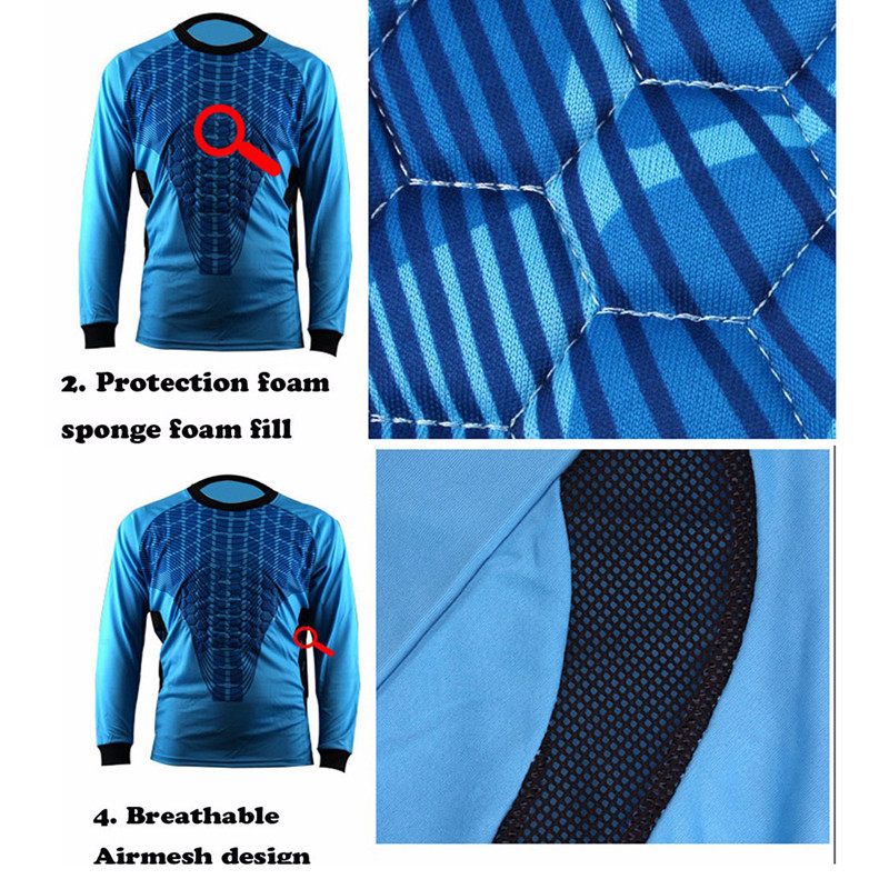 Hombres fútbol portero Jersey maillot de Foot 2016 2017 portero esponja  protector suit camisetas de futbol portero uniformes en Juegos de fútbol de  Deportes ... 22536a484e78e