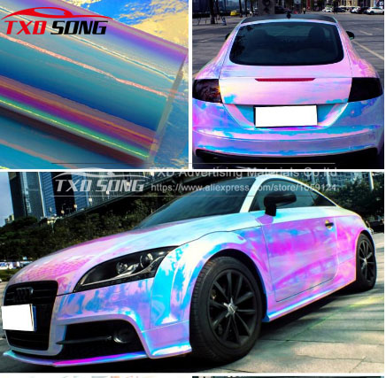 Image 2 - Premium New arrival rainbow holographic chrome film Glossy Mirror Rainbow Holographic Film Rainbow chrome vinyl car wrap-in Car Stickers from Automobiles & Motorcycles
