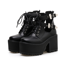 Black Booties Punk Buckle Ankle Boots Fashion Platform High Heel Boots Fall Rock Style Platform Motorcycle Shoes Women Shoes aiykazysdl women ankle boots faux leather suede motorcycle biker bootie punk buckle platform block ultra very high heel shoes
