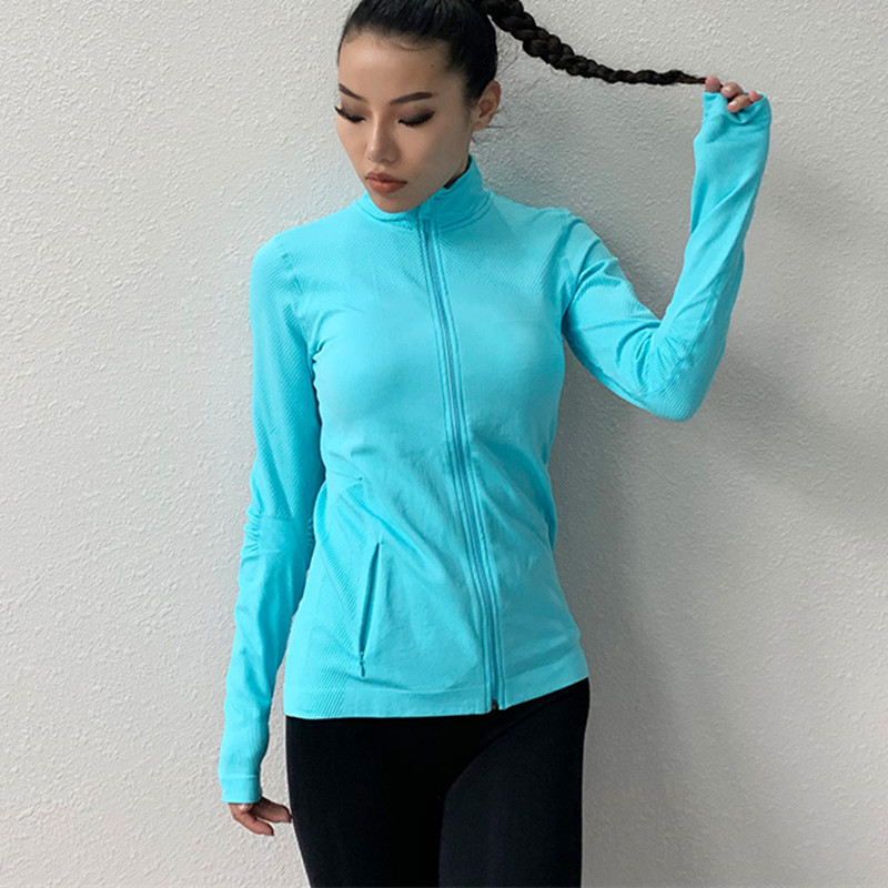 running - Women's Sports Slim Seamless Running Jacket Gym Long sleeves Fitness Workout Quick Dry Elastic Zippered Outdoor Sports Jacket