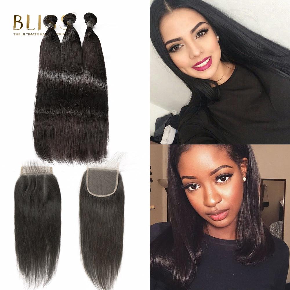 Bliss Hair Brazilian Straight Hair Human Hair Bundles With Closure Three Part 3 Bundles with Closure Remy Hair Extension