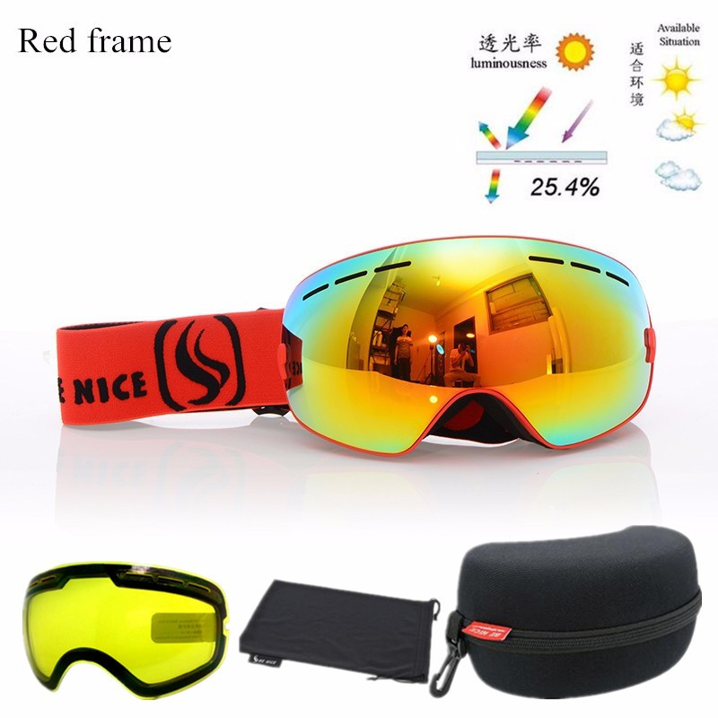 ФОТО 2016 New Double Anti-fog Big Spherical Skiing Goggles Ski Eyewear Unisex Snow Goggles with Night Vision Lens and Original Boxes