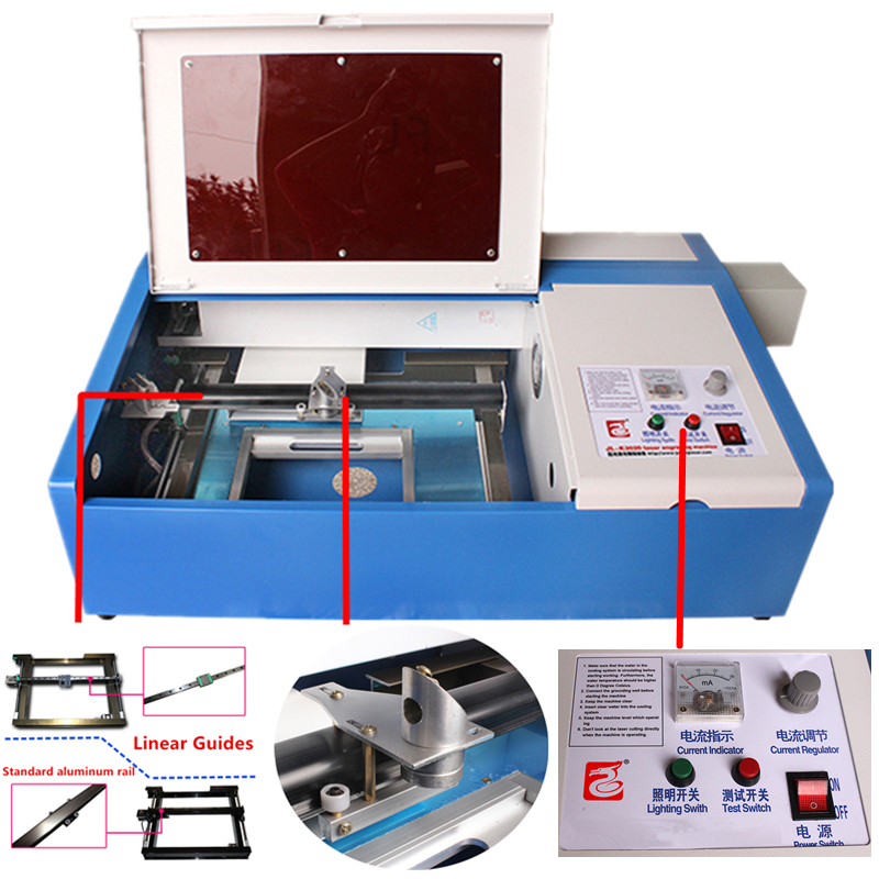 3020 liner guide CO2 LASER ENGRAVING MACHINE CARVING WORK COMPUTERIZED SAFE FDA COMPLIANT WITH COOLING FAN 3020 work size