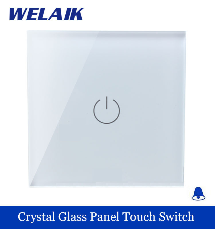 WELAIK Crystal Glass Panel Switch White Wall Switch EU Door Bell Touch Switch  Light Switch 1gang1way AC110~250V A1911MLW/B smart home us au wall touch switch white crystal glass panel 1 gang 1 way power light wall touch switch used for led waterproof