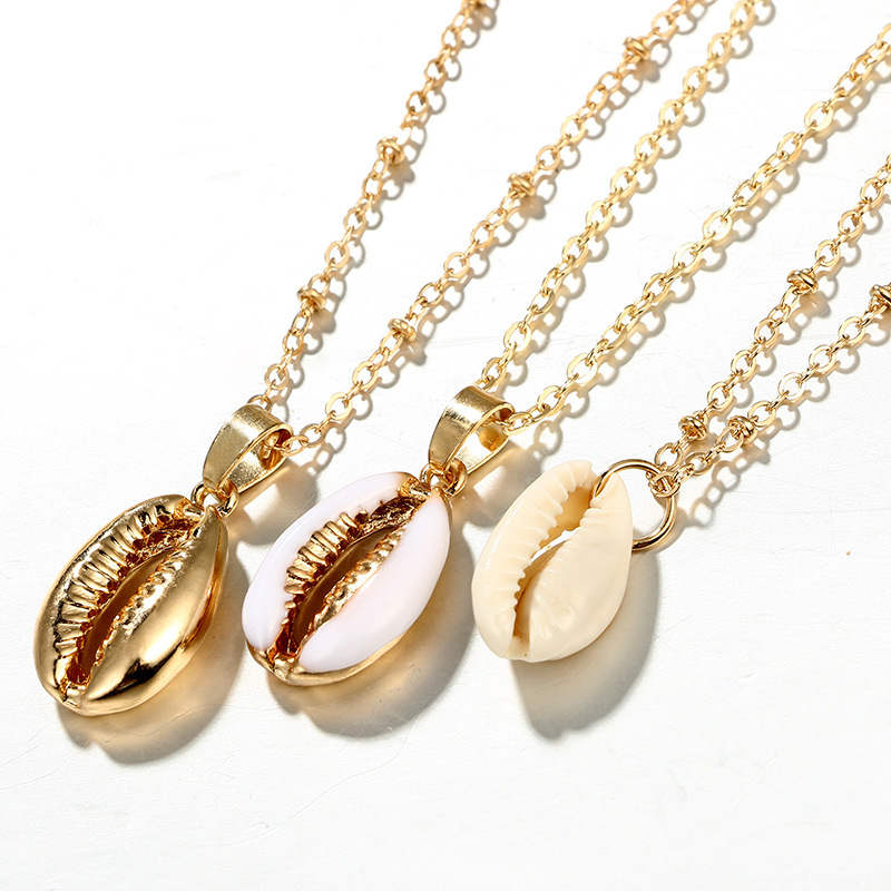 Three Layers of Cowrie Beach Shell Pendant Necklace for Women Fashion Ocean Sea Beach Necklaces Boho Shell Jewelry 2019 New in Pendant Necklaces from Jewelry Accessories