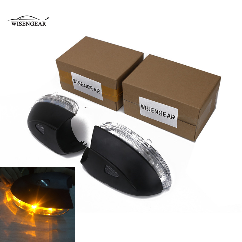 WISENGEAR LED Turn Signal Corner Light Lamp Door Rearview Mirror Cover Cap For Volkswagen VW BEETLE CC PASSAT B7 JETTA MK6 EOS / abs mirror cover chrome matt painted cap side mirror housings for volkswagen jetta golf 5 passat b6 ct