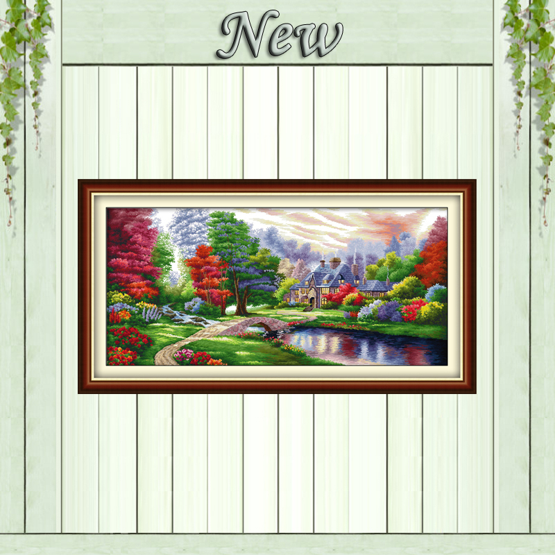 New! Colorful Scenery,Counted Printed on canvas DMC 11CT 14CT Cross Stitch kit,needlework Set embroider,In the Spring Home Decor