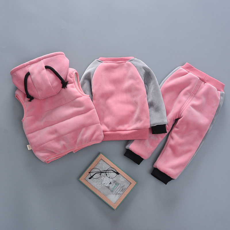 Baby girls warm clothing sets winter autumn newborn cotton thick velvet tracksuits for bebe boys toddler cute vest tops pants 2Y in Clothing Sets from Mother Kids