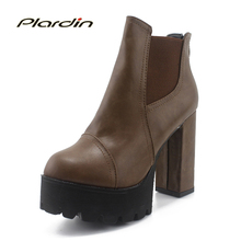 ผู้หญิงรองเท้าส้นหนาพิเศษสูงผู้หญิงรองเท้าแพลตฟอร์ม9.5เซนติเมตรซิปรองเท้าผู้หญิงรองเท้าข้อเท้าในช่วงฤดูหนาวสำหรับผู้หญิงหนังสะดวกสบาย