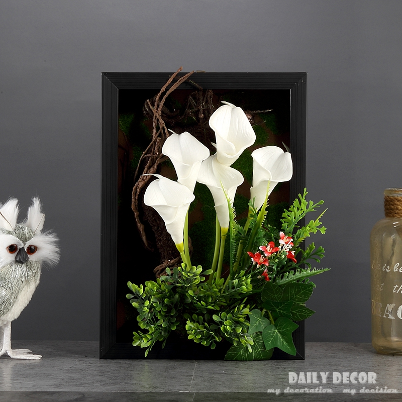High simulation 3D artificial PU flowers Calla lily Plant frame ...
