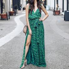 Vintage Summer Maxi Dress Women Floral Print Dress V Neck Sleeveless Split Sexy Boho Beach Party